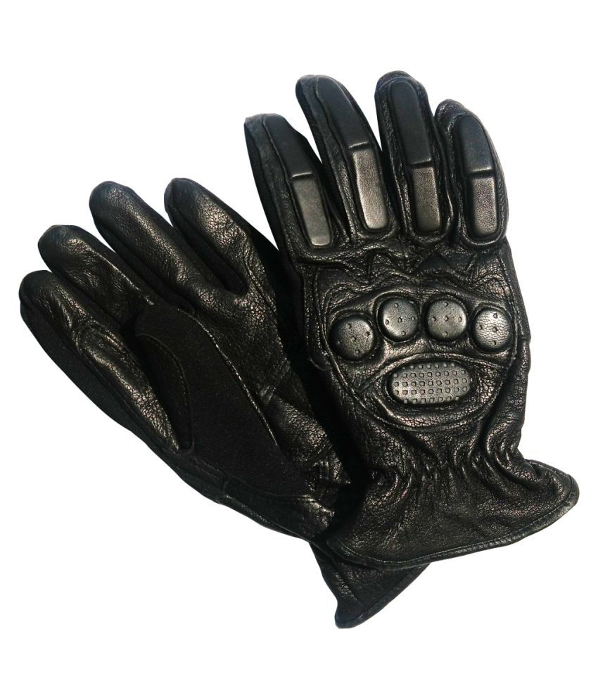 Buy leather hand gloves online india - Jharjhar Black Leather Gloves B