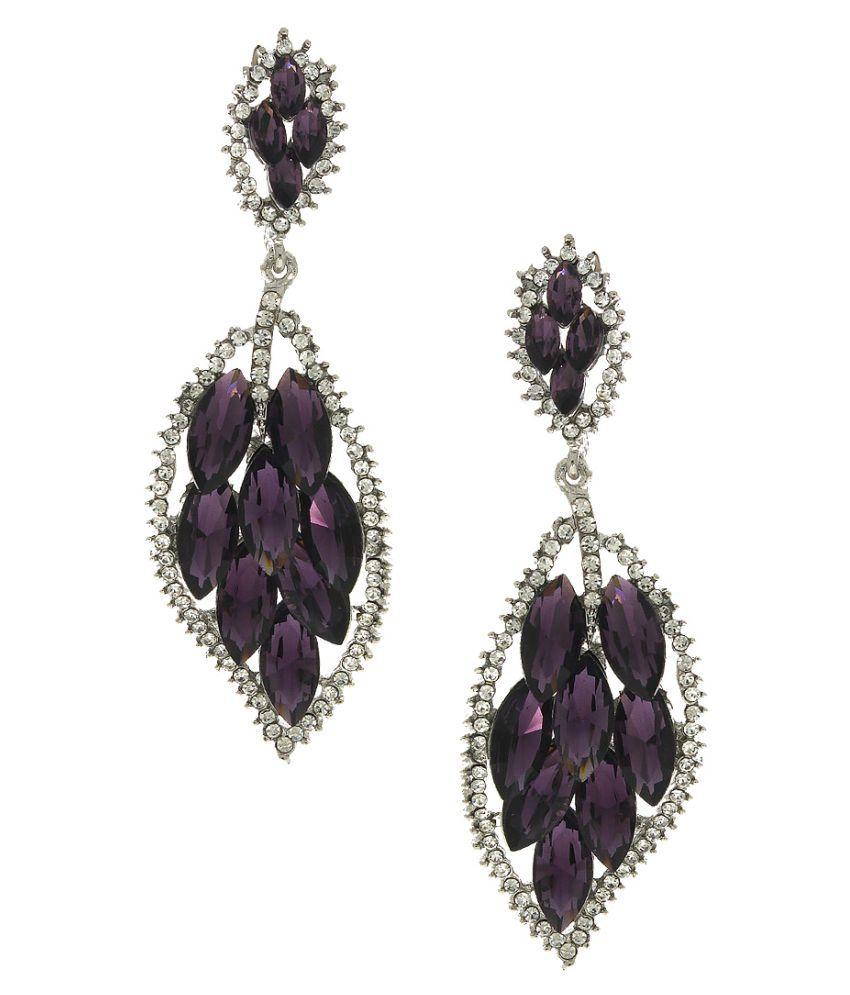 Anuradha Art Purple Colour Fabric Styled Fancy Designer Earrings For Women//Girls