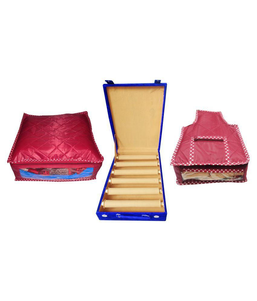 Combo deal 6 rod blue bangles box maroon saree bag and maroon blouse cover