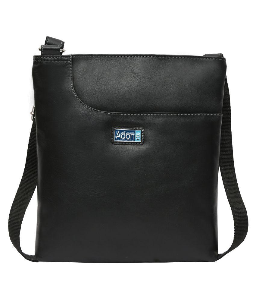 Adone Black Pure Leather Sling Bag