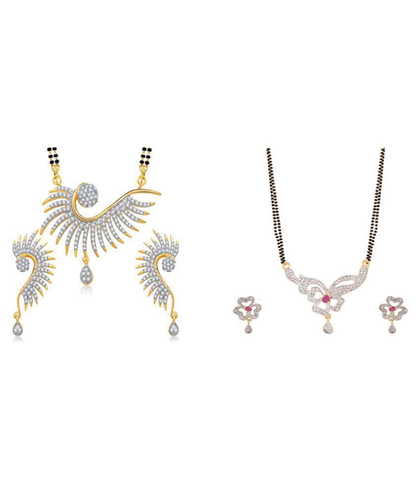 Zevar Green American Diamond Best and Beautiful Mangalsutra Set combo For Women