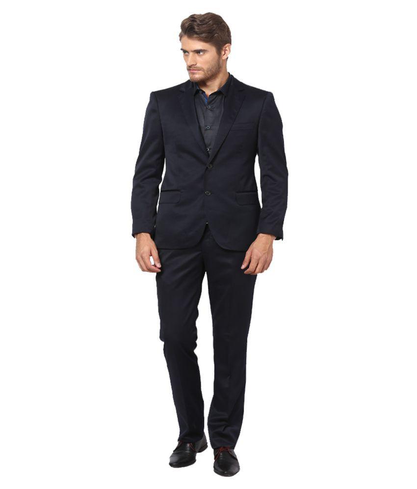Lee Marc Black Solid Formal 2 Piece Suits