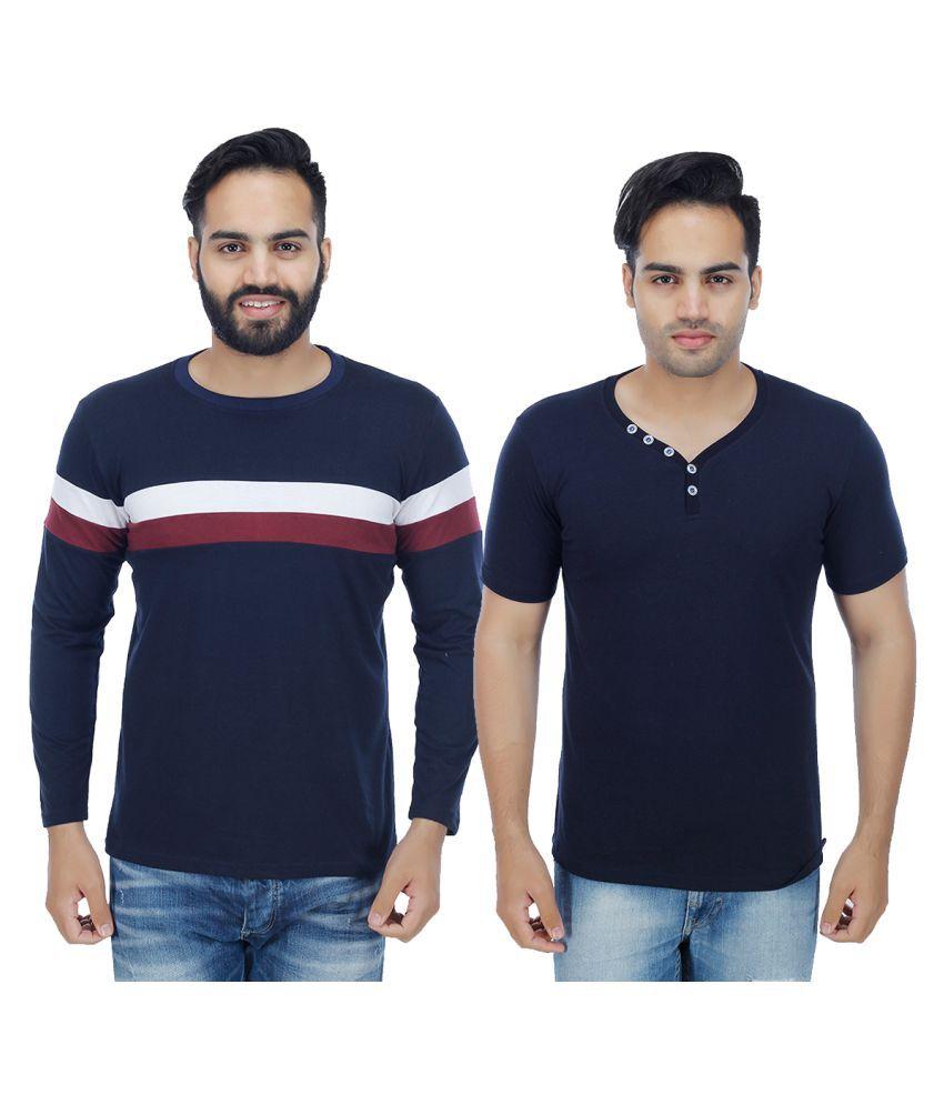 Rakshita's Collection Blue Round T-Shirt Pack of 2