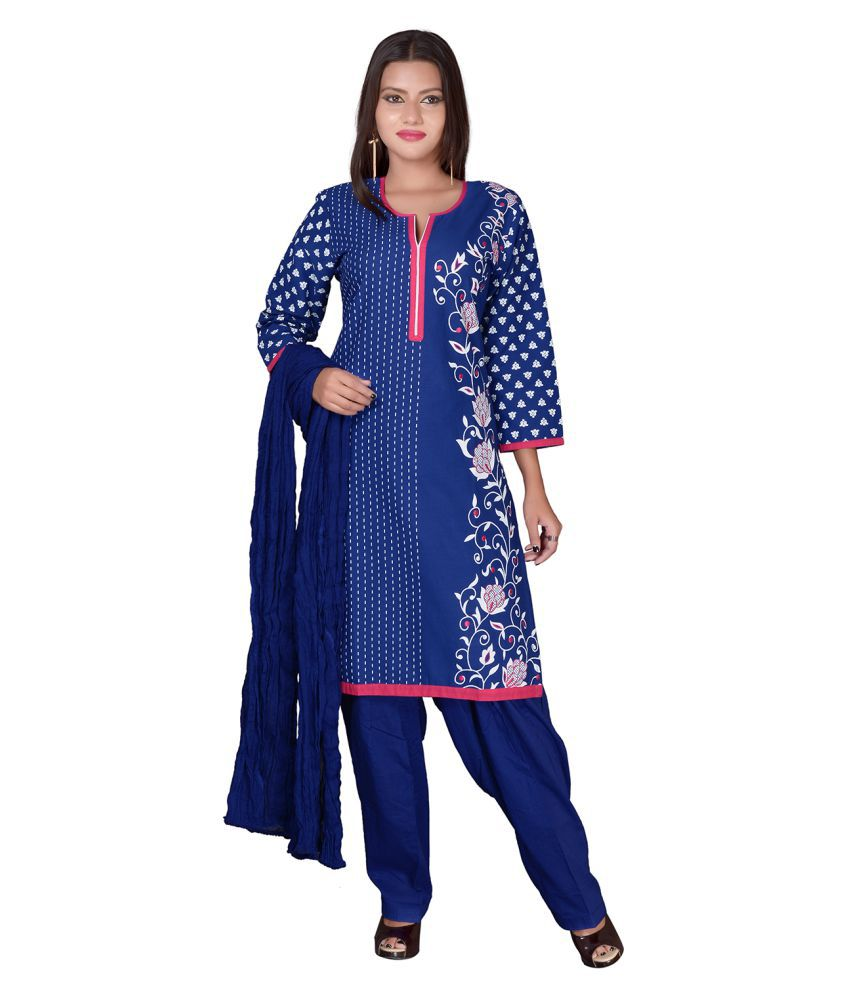 Aavaya Fashion Blue Cotton Straight Stitched Suit