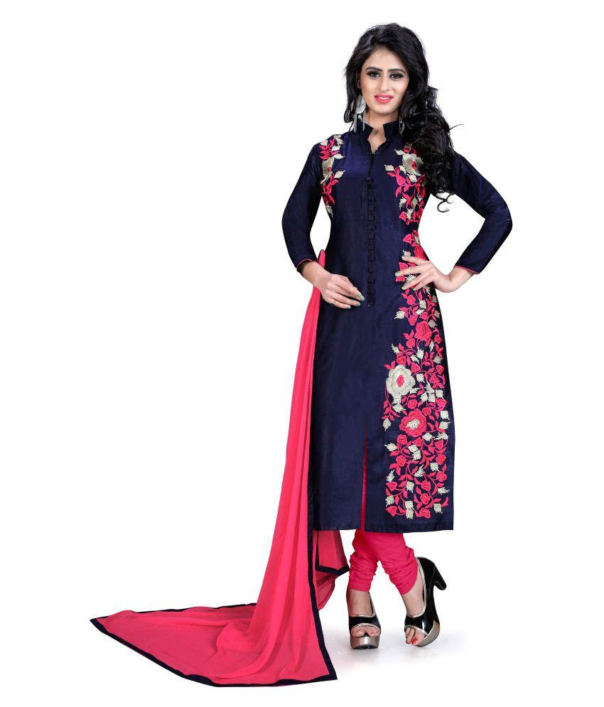 Shivanya Fashion Blue Cotton Dress Material