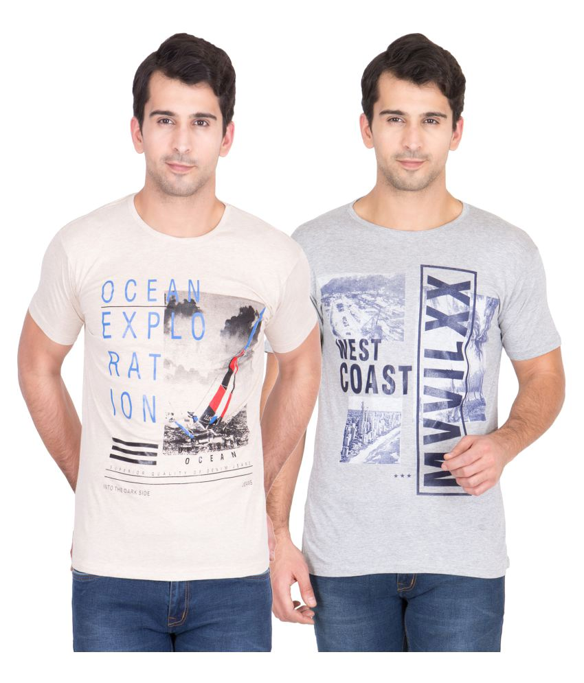 American-Elm Multi Round T-Shirt Pack of 2