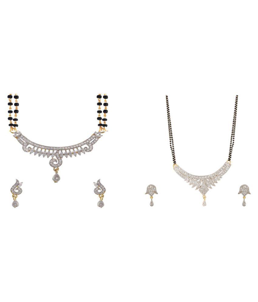 Zevar Green American Diamond Best and Beautiful Mangalsutra Combo For Women