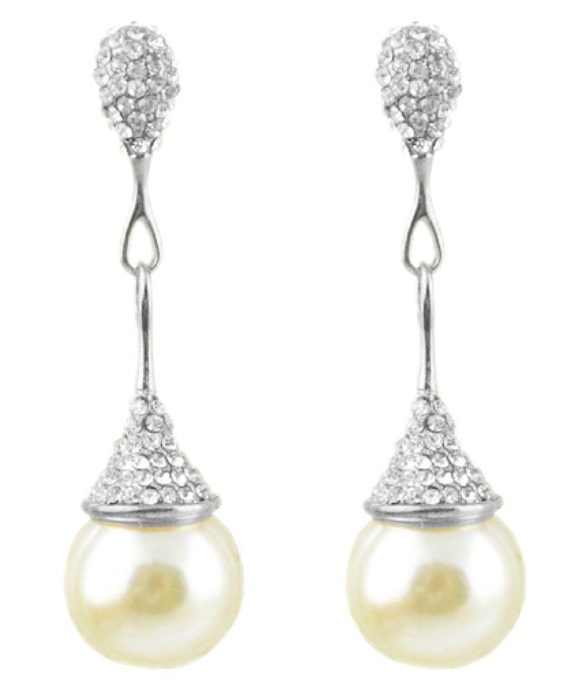 Silver Shoppee Alloy Rhodium Plated Cubiz Zirconia Studded White Drop Earrings