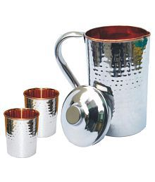 Veda Home & Lifestyle VEDA COPPER JUG SET 3 Pcs Jug And Glass Combo