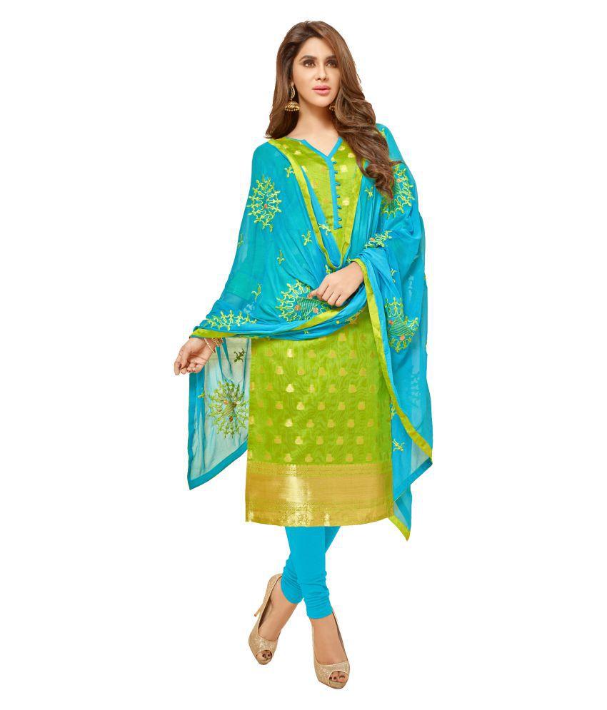 Crafts N Culture Green Jacquard Dress Material