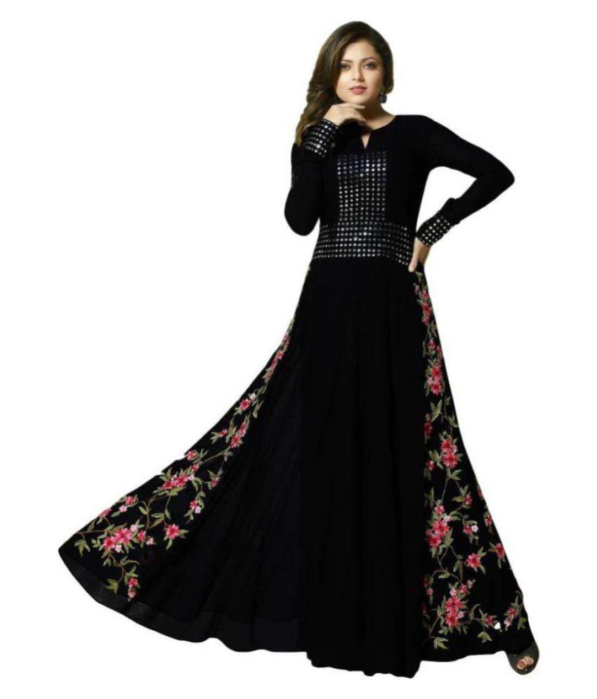 Fashion Bucket Black Georgette Anarkali Gown Semi-Stitched Suit