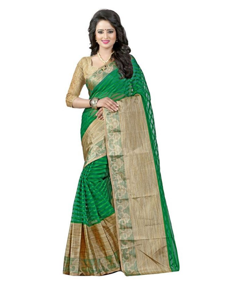 Bhuwal Fashion Green Cotton Silk Saree