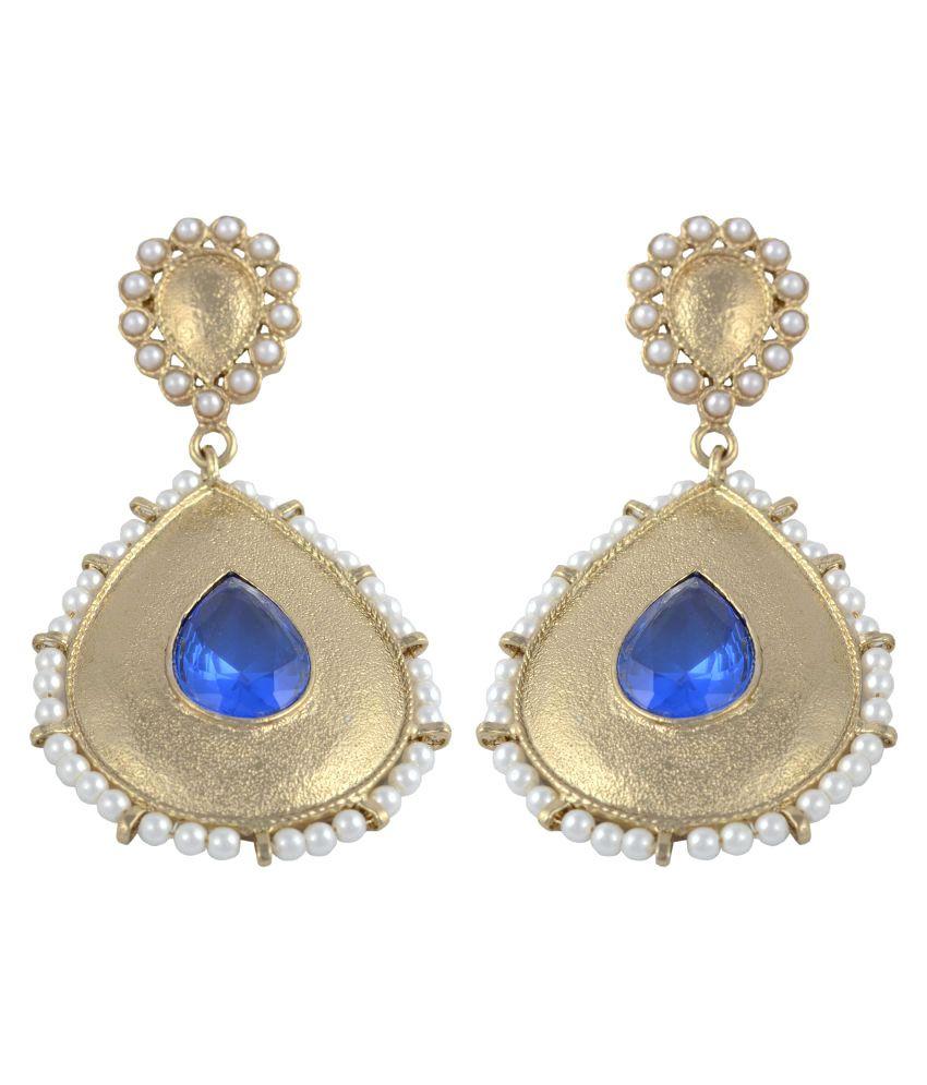 HB Arsya Jewellery Danglers Blue Alloy Hanging Earrings