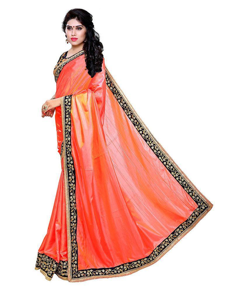 d2c81c5390 Rudra Fashion Pink and Orange Silk Saree - Buy Rudra Fashion Pink ...
