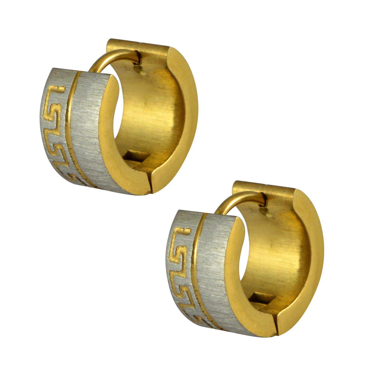 Sarah Golden Broad Steel Brushed Huggies Earring