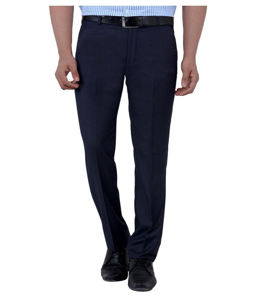 La Mode Blue Regular Flat Trousers