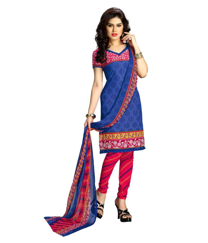 The Ethnic Chic Blue Polyester Dress Material
