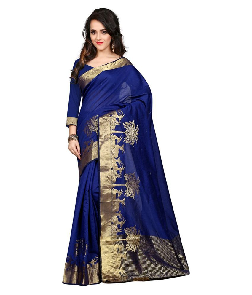 Eco Poly Hub Blue Cotton Saree