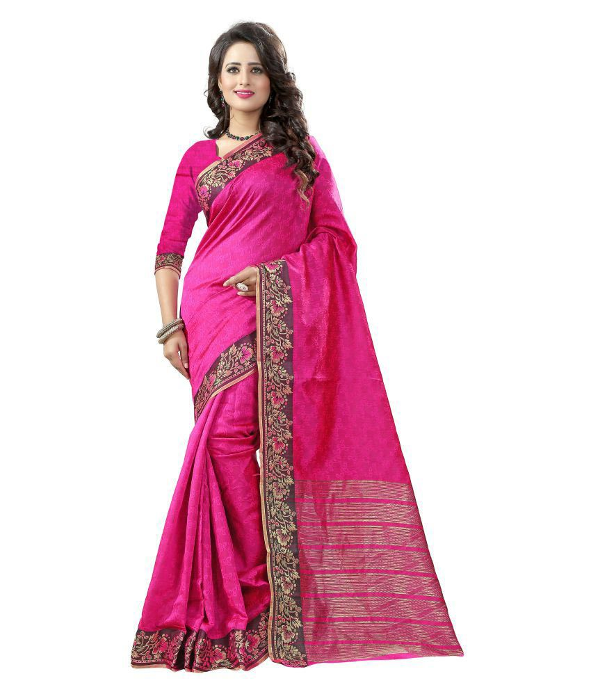 K.C. Pink Cotton Silk Saree