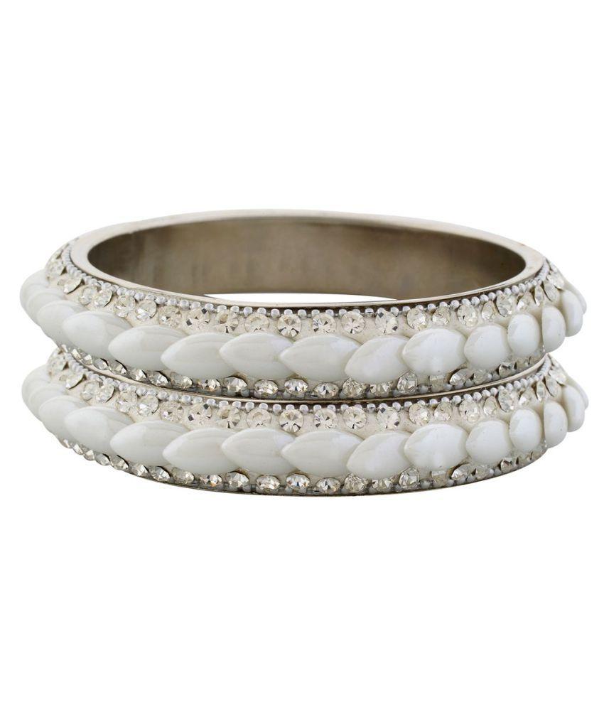 Saaro Beautiful Stylish Metal White Pair of Bangles (Pack of 2)