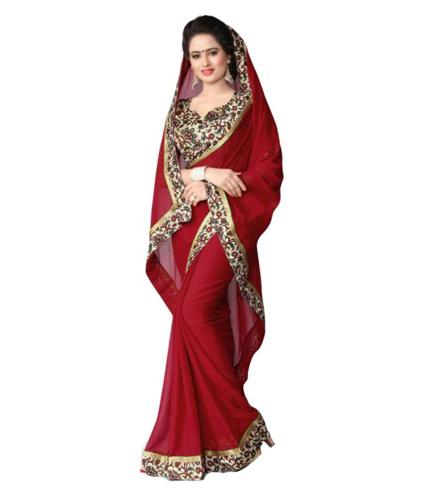 Blossomdeal Red Georgette Saree