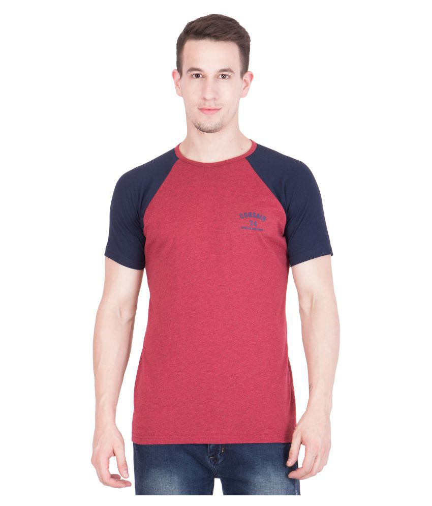 American-Elm Red Round T-Shirt