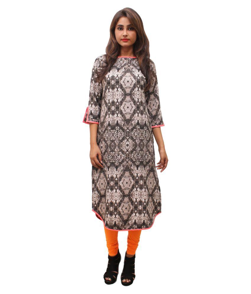 Makxziya Multicoloured Polyester Straight Kurti
