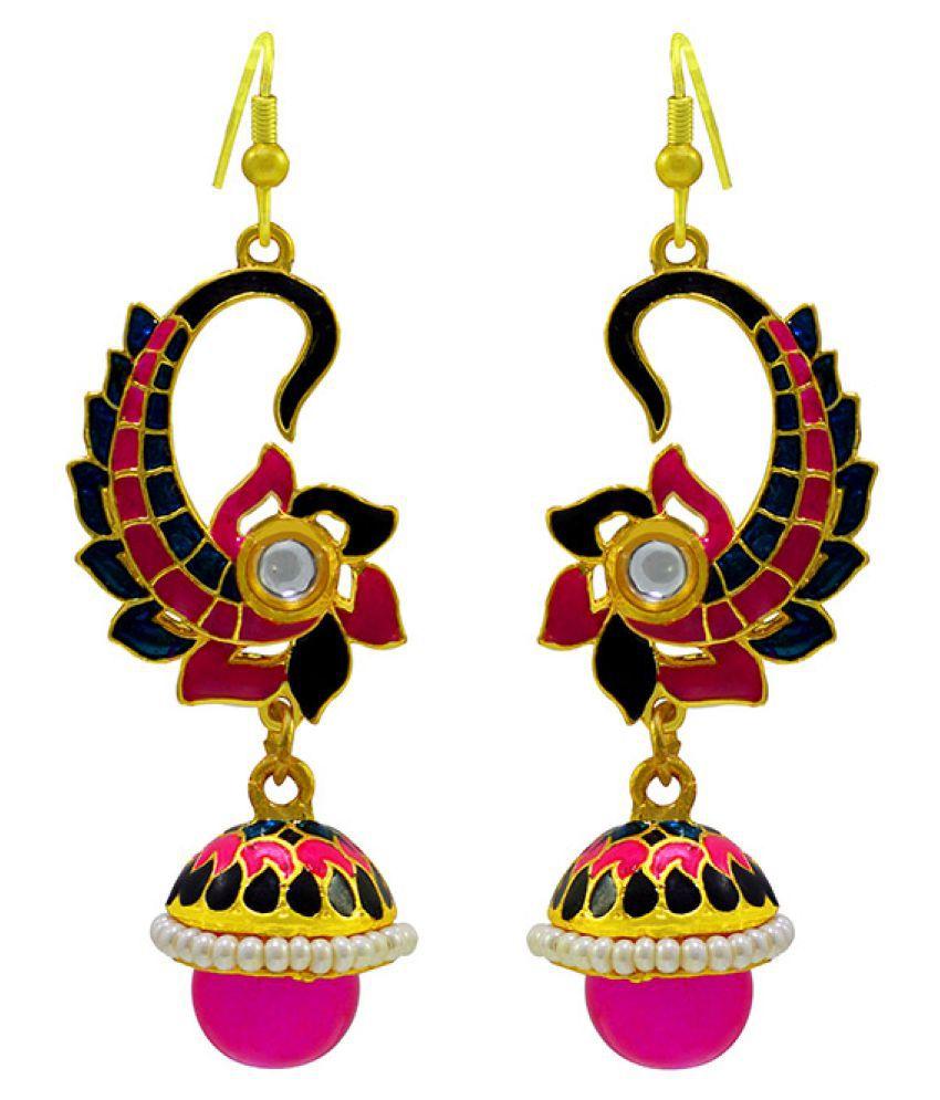 MK Jewellers Trendy Look Meenakari Multicolor Jhumki