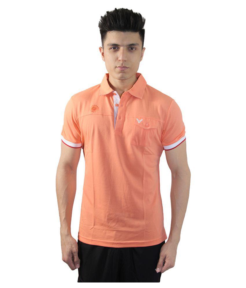 Victor Orange Cotton Blend Polo T-Shirt