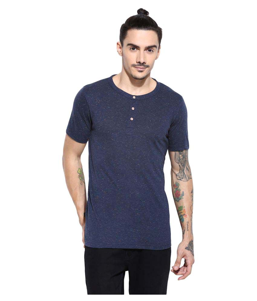 Campus Sutra Blue Henley T-Shirt