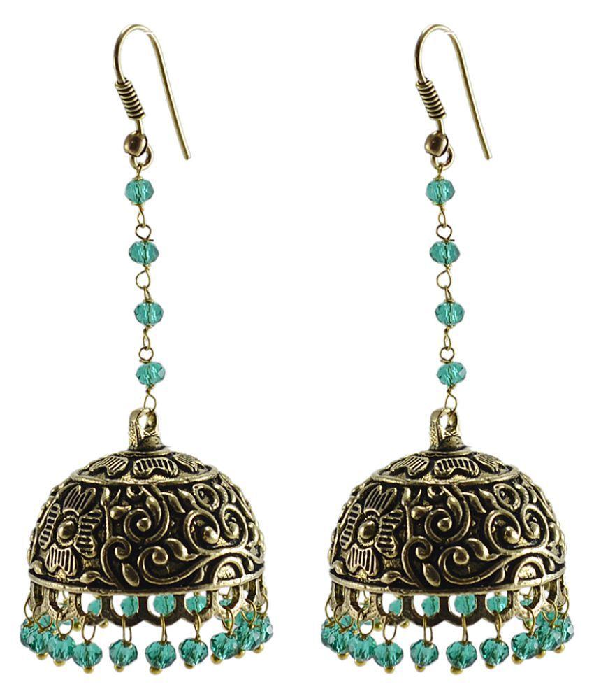 Silvesto India Antique Green Jhumka Earring