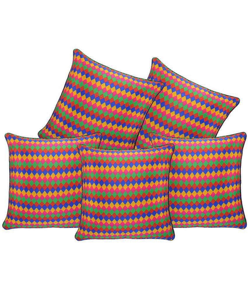 Decor Studioz Set of 5 Poly Cotton Cushion Covers 40X40 cm (16X16)