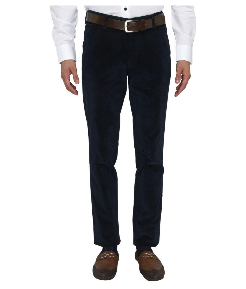 JB Studio Navy Blue Slim Flat Trousers