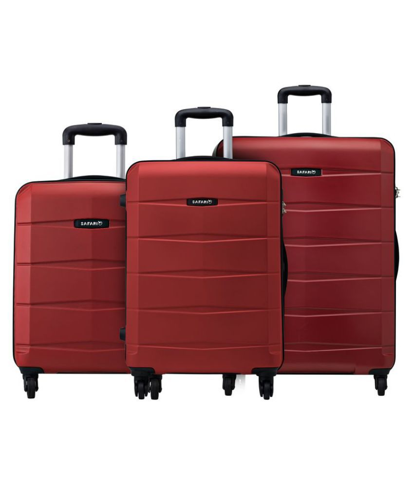 51621b5fb9c6 Safari Re-Gloss Anti Scratch Red Set of 3 Small, Medium & Large Trolley Bag  Hard Branded Luggage/Travel Bag(International Luggage) Suitcase combo