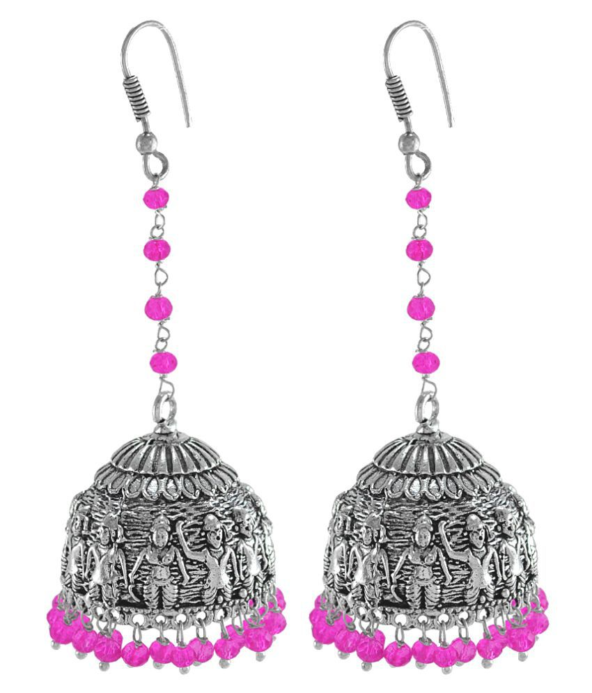 Silvesto India Pink Crystal Beads Traditional Silver Overlay Jhumka Earrings With Oxidized Finish PG-100686