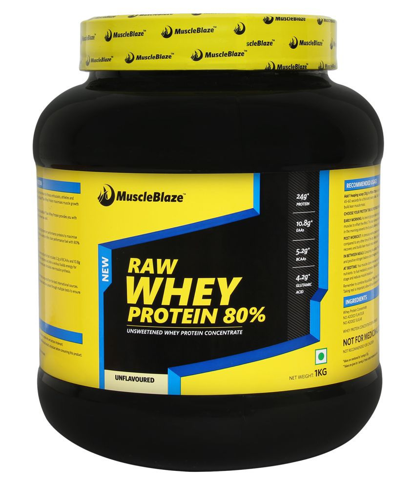 MuscleBlaze 100% Whey Protein Supplement Powder, 2.2 lb/ 1 kg, 33 Servings (Unflavoured)