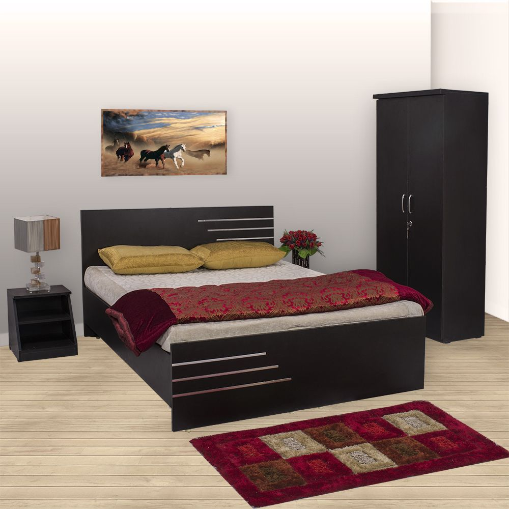Bharat Lifestyle Amsterdam Bedroom Set (Queen Bed + Wardrobe + Side Table)  ...