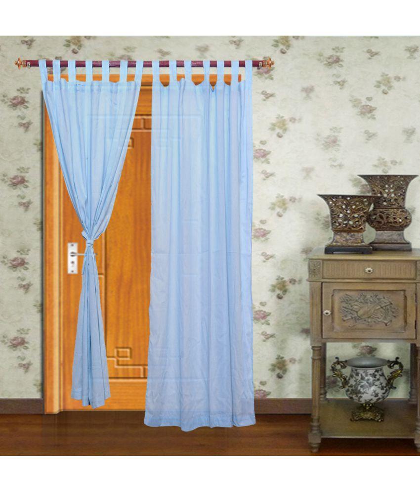 Home Royal Set of 2 Door Loop Curtains Plain Blue Buy Home Royal