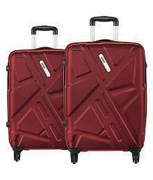 Safari Traffik Anti Scratch Combo Set of 2 Red Small, Medium Hard Luggage Trolley Bag