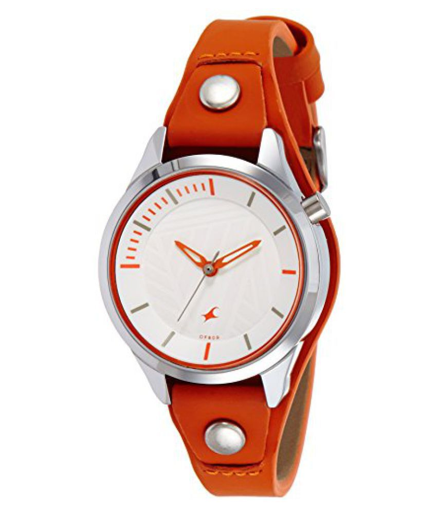 7630ec7d5 Fastrack Ladies Orange Analog Watch-6156SL02 Price in India  Buy Fastrack  Ladies Orange Analog Watch-6156SL02 Online at Snapdeal