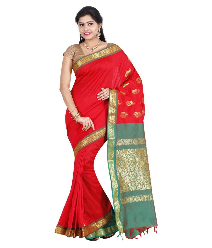 The Chennai Silks Red Art Silk Saree