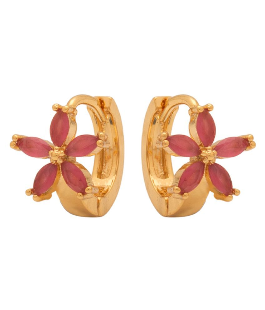 Navrang Hoop Earrings Featuring Floral Design for Women