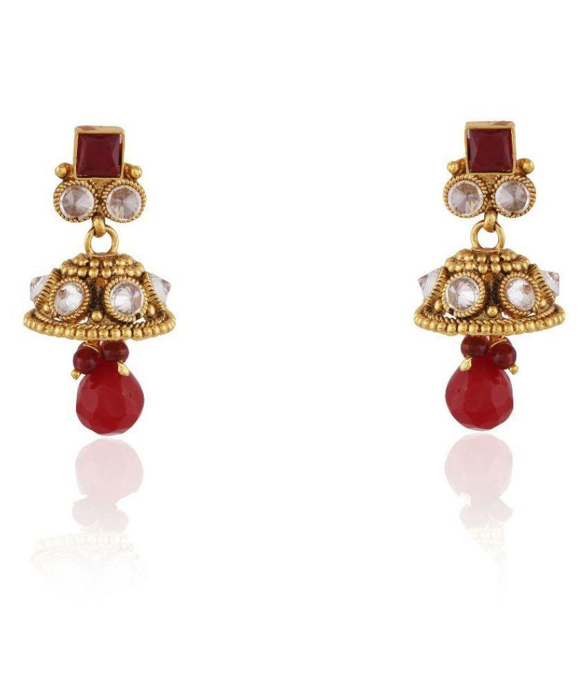 Accessher Copper Antique Royal Pearl Drop Earrings