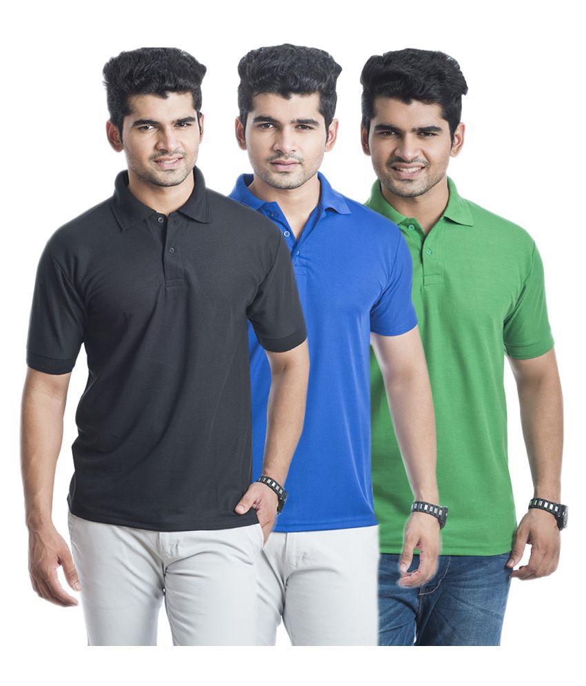 Akaira Multi Polyester Polo T-Shirt Pack of 3