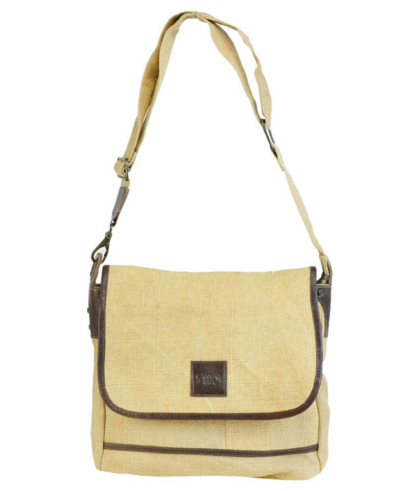 Canvas & Awl Beige Casual Messenger Bag