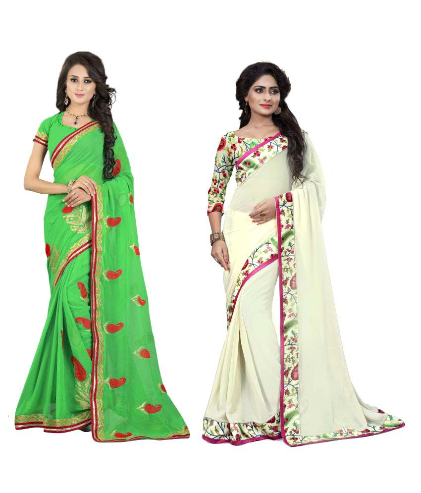 OM Krishna Sarees Multicoloured Cotton Blend Saree Combos