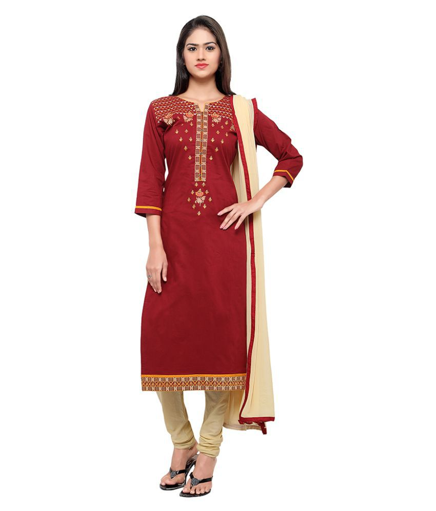 Patiala House Maroon Cotton Dress Material