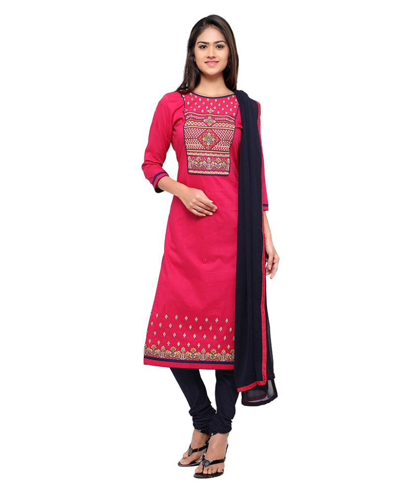 Patiala House Red and Black Cotton Dress Material