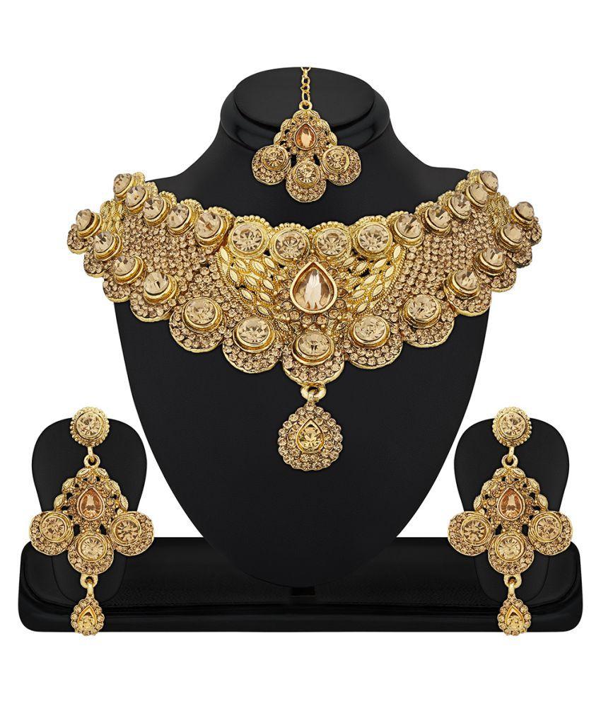 RG Fashions Golden Zinc Stones Studded Choker Necklace Set with Maang Tikka