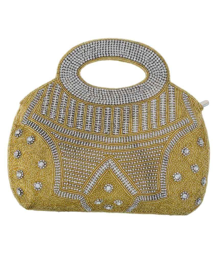 Vama Fashions Gold Fabric Handheld